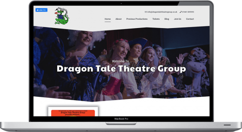 website design northumberland dragon tale theatre group website on macbook pro